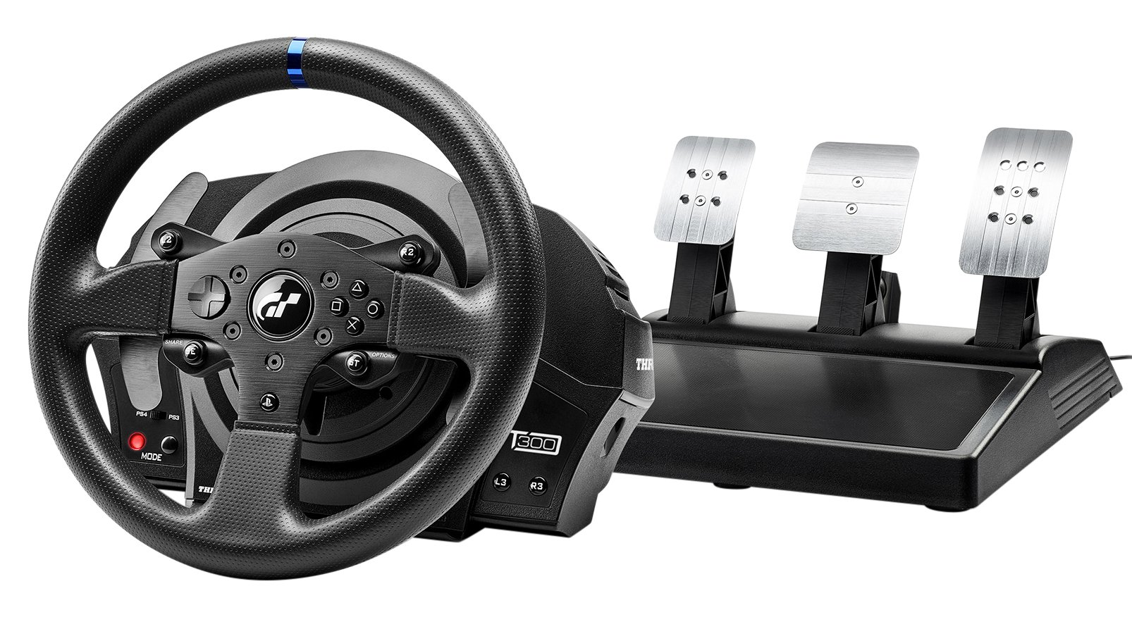 Thrustmaster T300 RS GT Force Feedback Racing Wheel with 3 Pedals set - Official Gran Tursimo licensed - for PS4 and PC - works with PS5 games