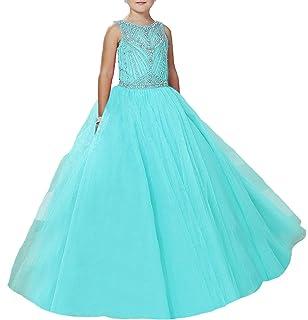 1fdb8bab76 Amazon.com  HuaMao Girl s V Neck Rhinestones Kids Princess Party ...