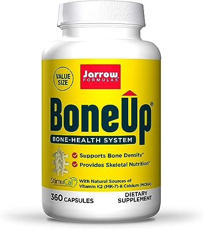 Jarrow Formulas BoneUp - 360 Capsules - Micronutrient Formula for Bone Health - Includes Natural Sources of Vitamin D3, Vitamin K2 (as MK-7) & Calcium - 180 Servings, No Artificial Color
