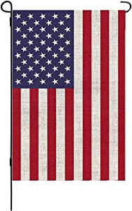 Disheen American Garden Flag, US USA Yard Flags Burlap Double Sided Outdoor Decor, 12.5 x 18 Inches Vivid Color & UV Fade Resistant