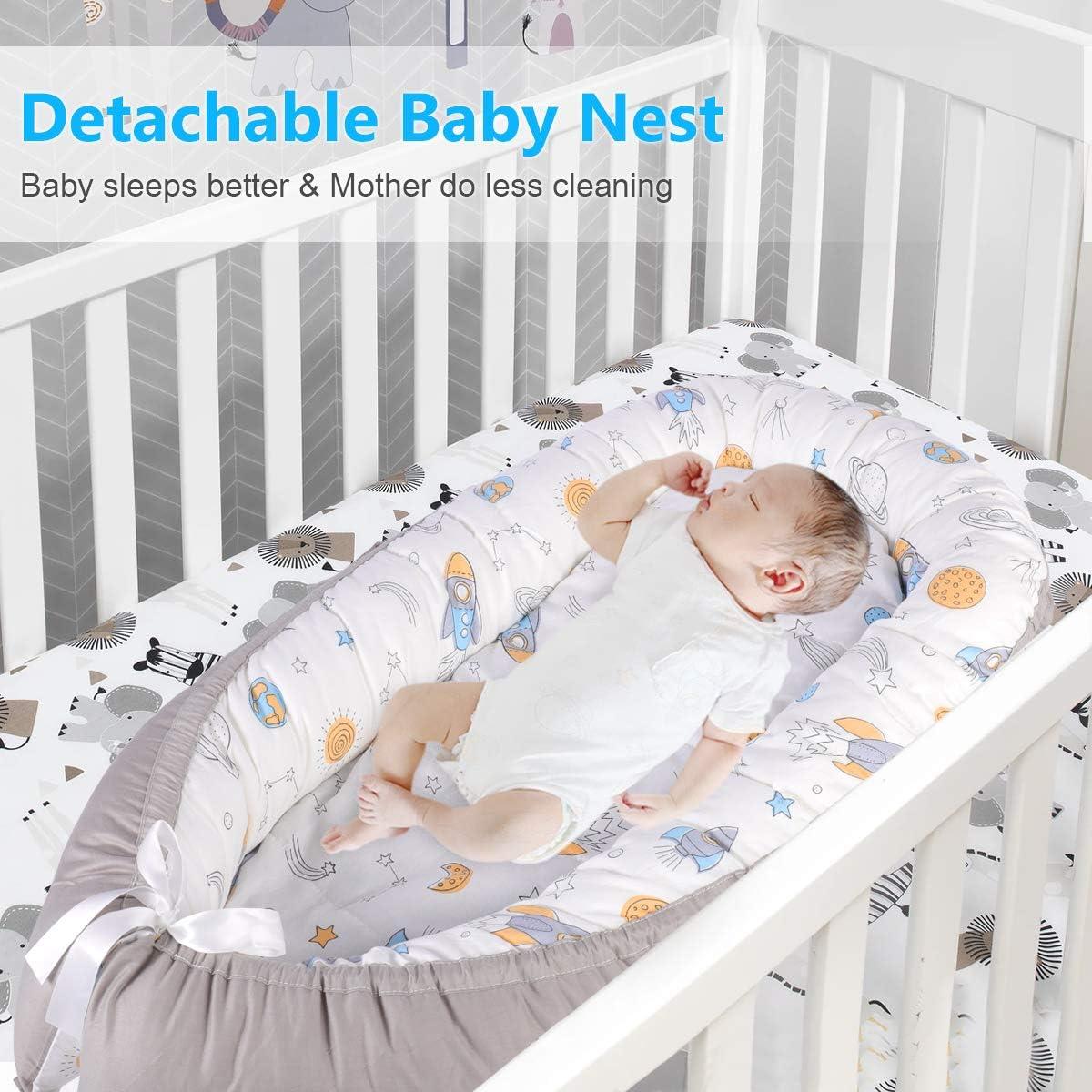 uso desmontable en cuna para reci/én nacido Animales coloridos transpirable suave cuna port/átil con colch/ón de seda helada Baby Nest Pod