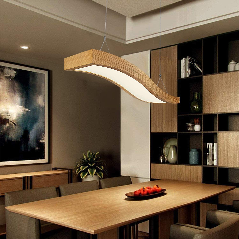 Pendellampe Esszimmer H/ängelampe H/öhenverstellbar E27 Holzlampe H/ängend f/ür Esstisch Wohnzimmer Restaurant LIGHTESS Pendelleuchte Holz Modern 1-Flamming