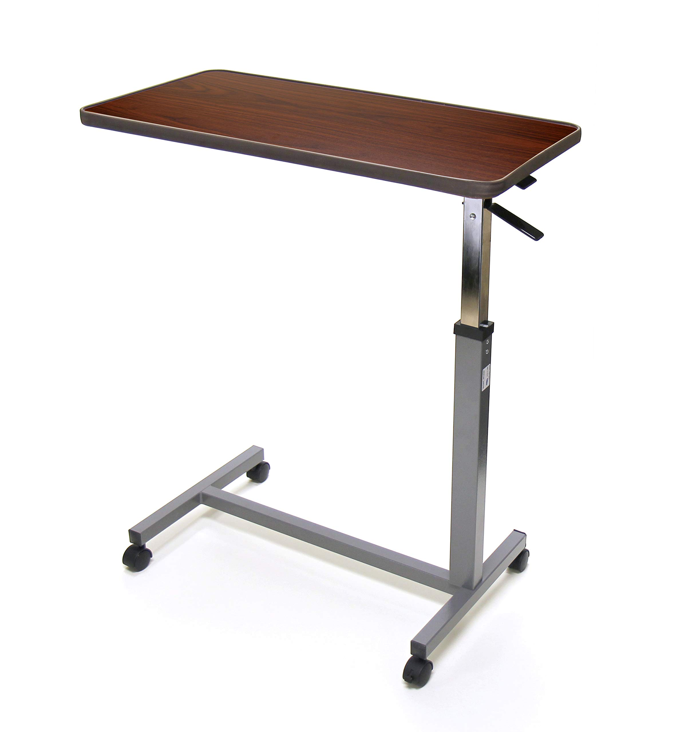 Invacare Hospital Style Overbed Table with Adjustable Height Tilt Top and Wheels, Fits Over Beds and Bedside, 6418