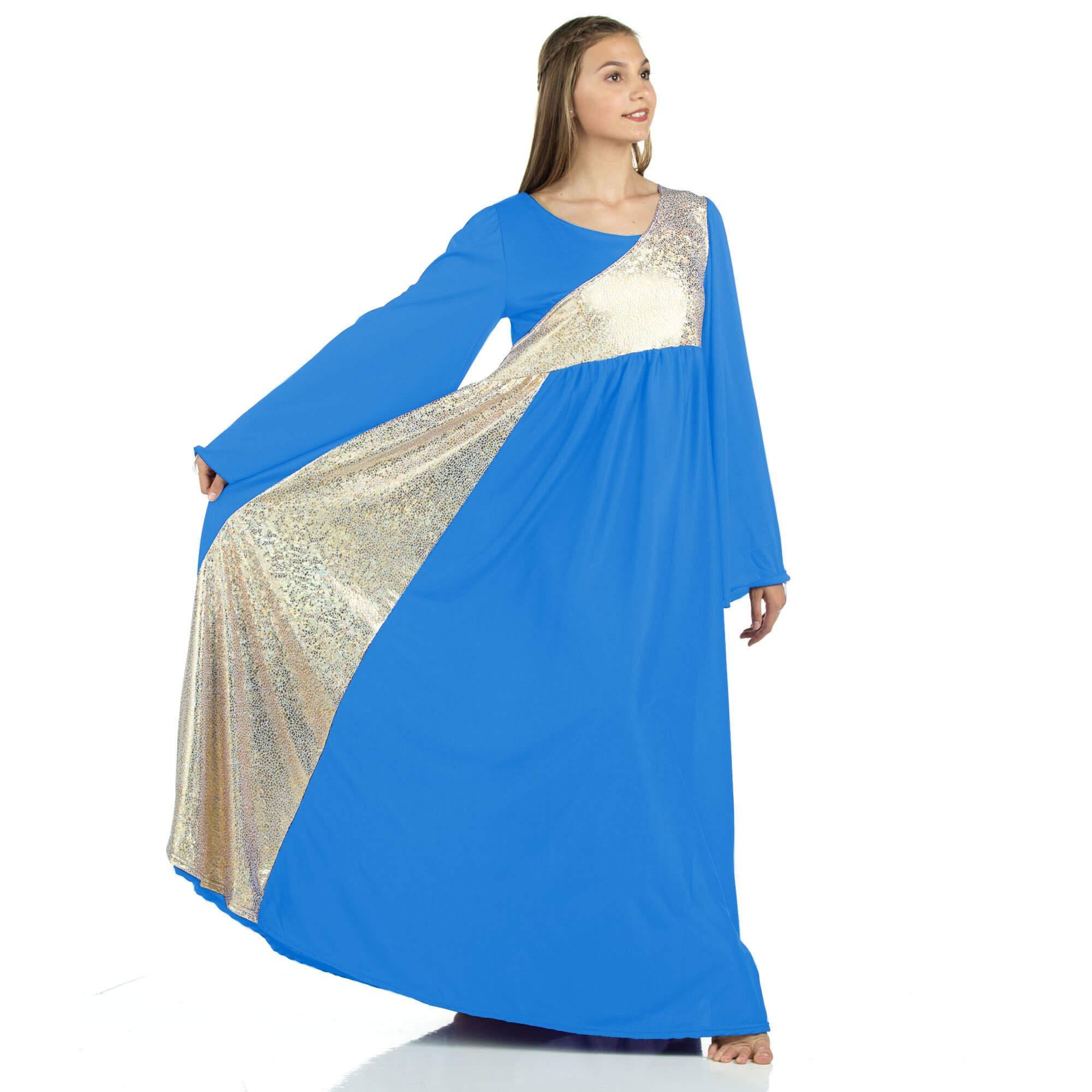 Danzcue Womens Shimmery Asymmetrical Bell Sleeve Dance Dress, Bright Royal-Gold, M by Danzcue