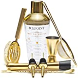 IcePoint 9 Piece Brushed Gold Bartending Kit - Complete Set with Shaker, Bar Measuring Tools and Accessories - 304…