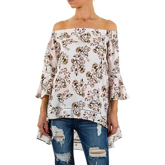 c0e3b4b79e6f Damen Tunika Designer Bluse festlich Elegantes Hemd Buisness Partybluse  Gemusterte Schulterfrei Creme S/M: Amazon.de: Bekleidung