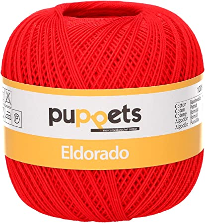 Puppets Eldorado grosor 10 ganchillo hilo, 100% algodón, algodón, 07046 Rot, Rojo: Amazon.es: Hogar