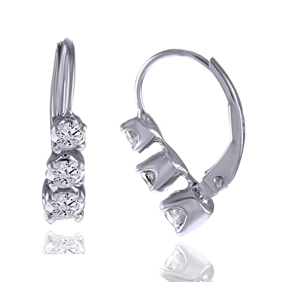 b1bb43c158c Amazon.com  Past Present Future 1 CT 3 Stone Real Diamond Earring 14K Solid  Rose Gold 3 4