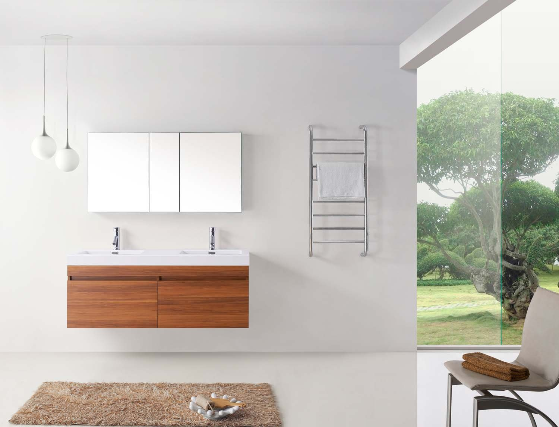 Virtu USA JD-50355-PL 55-Inch Zuri Double Sink Bathroom Vanity, Plum ...