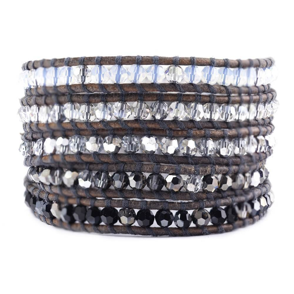 Chan Luu Silver Night Crystal Mix Wrap Bracelet on Natural Grey Leather