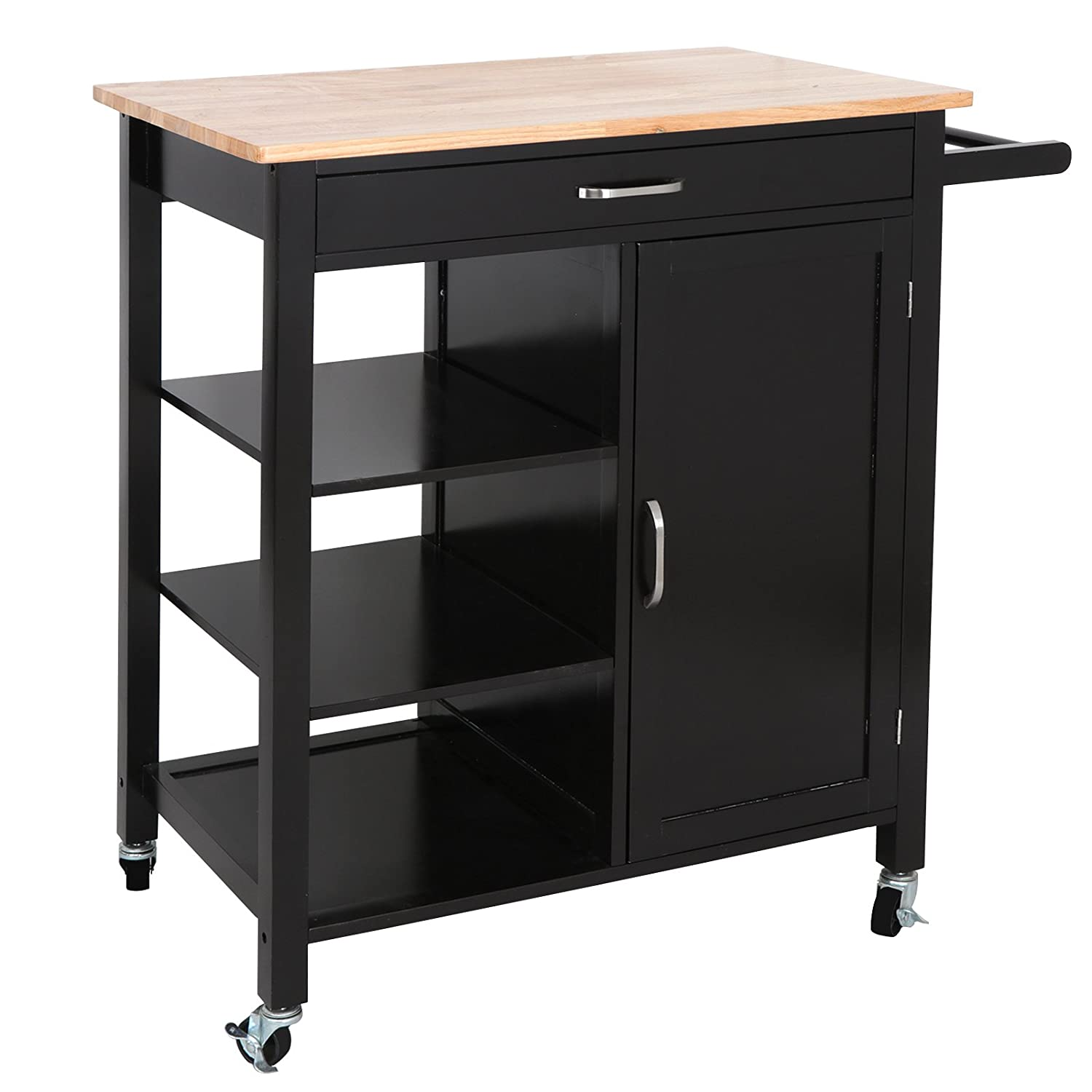 SUPER DEAL 4-Tier Utility Rolling Kitchen Storage Cart Kitchen Trolley Serving Cart w/Rubberwood Butcher Block Work Surface, Cabinet, Towel Bar, Drawer and Shelves