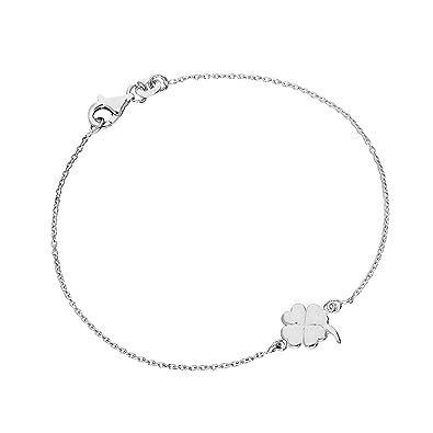 8733ac211f03f Bracelet Trèfle à 4 Feuilles en Argent 925 1000 17,8cm  Amazon.fr ...
