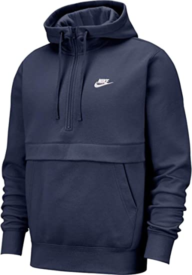 Nike Mens Sportswear Club Fleece Half-Zip Hoodie BV2699 Midnight Navy//Midnight Navy//White, 2XL