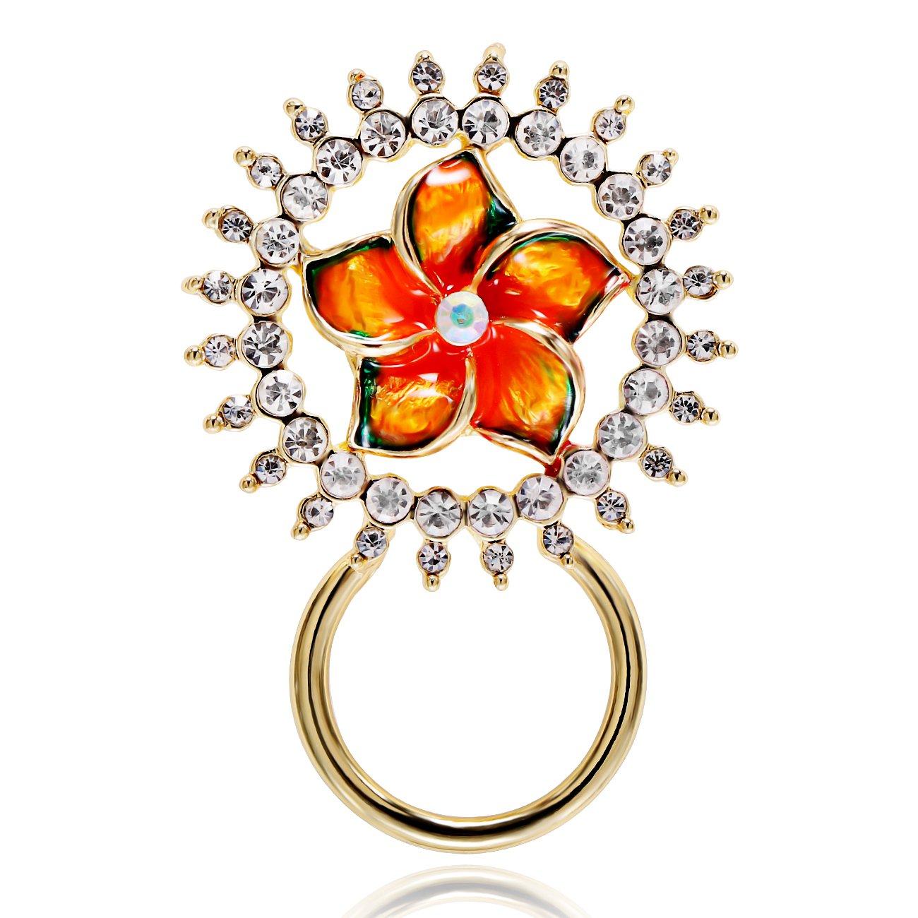 NOUMANDA Pretty Yellow Flower Shining Crystal Circle Eyeglass Sunglass Holder Romantic Brooch Pin Jewelry (gold)