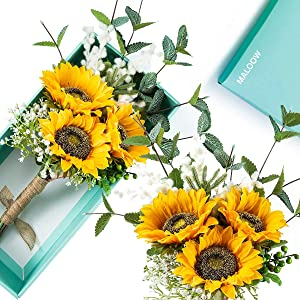 MALOOW Sunflowers Artificial Flowers Bridal Bouquets for Wedding,Fake Silk Flowers Decor for Wedding,Outside,Home,Party Box