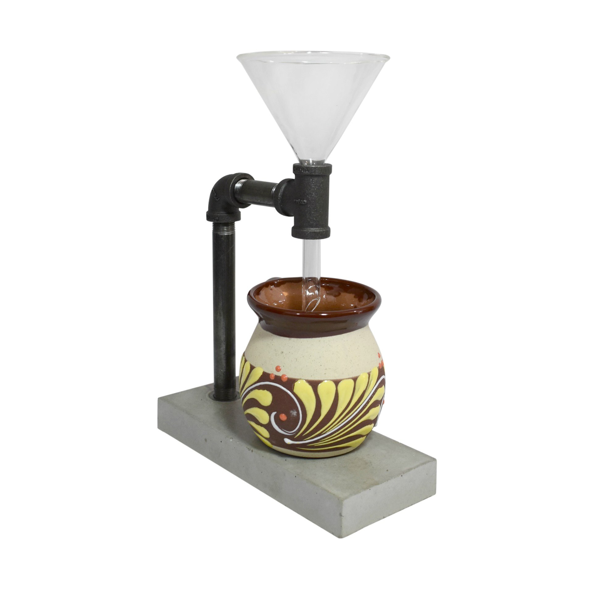 Premium Designer Black Steel Pour Over Coffee Maker Handmade Concrete Stand Complete With Glass Dripper - The Finest Homemade Pour-Over Coffee a Unique Individual Coffee Filter Coffee Drip