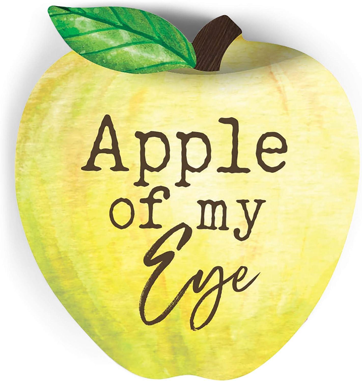 P. Graham Dunn Apple of My Eye Light Yellow Green 3.5 x 3.5 Pine Wood Small Tabletop Plaque