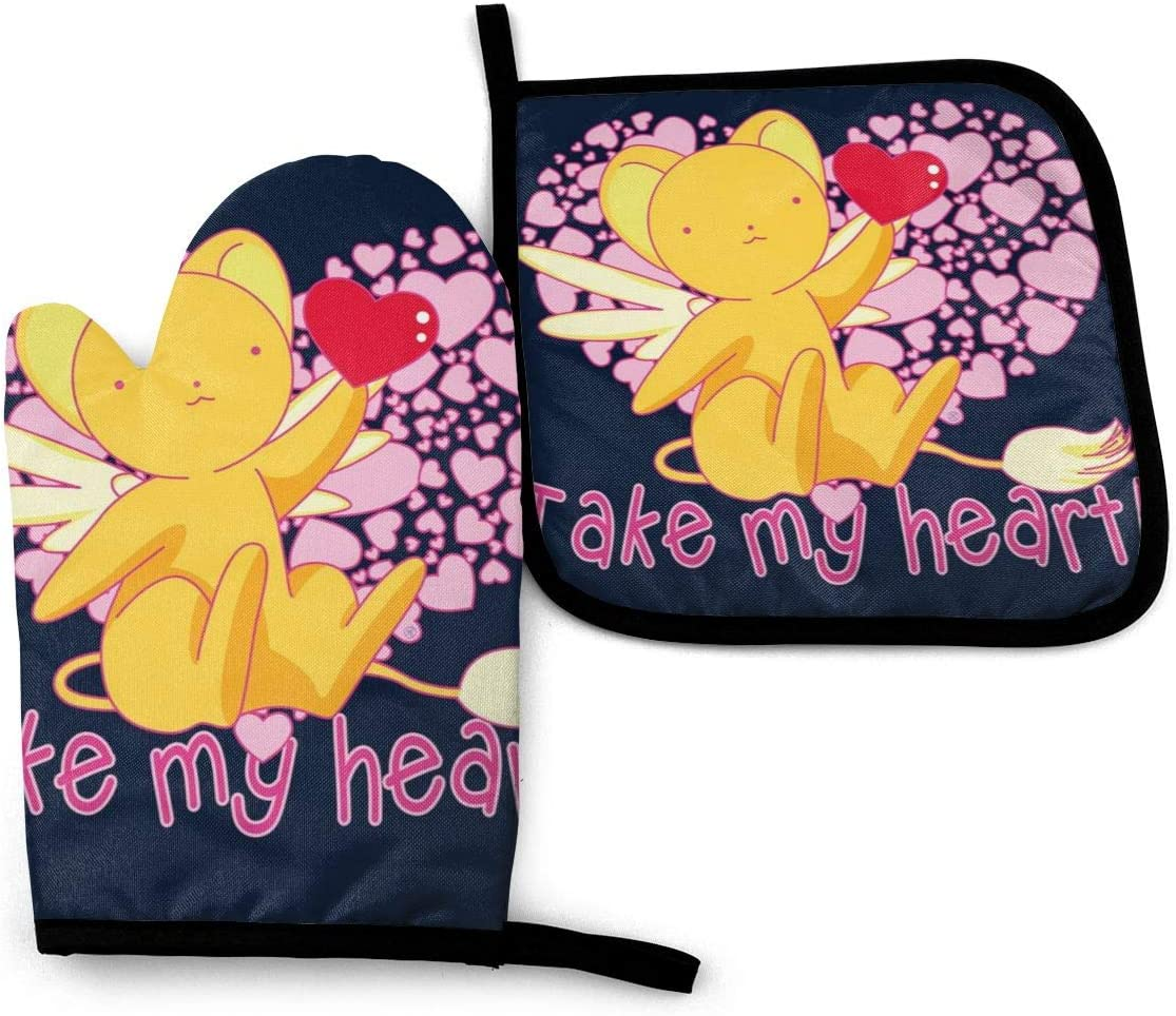 SDFDFGD Kero Chan Take My Heart Cardcaptor Sakura -Oven Mitts and Pot Holders Heat Resistant Kitchen Bake Gloves Cooking Gloves
