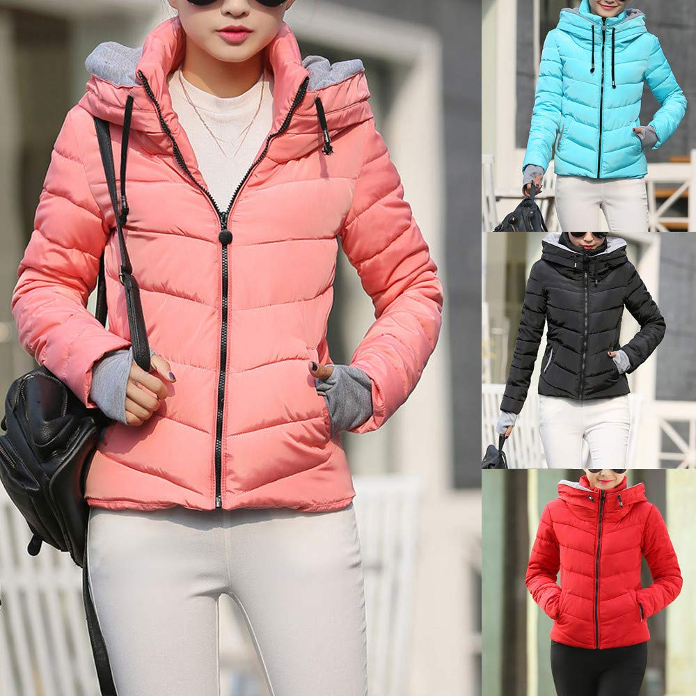 a832eb79f ESAILQ Women Thick Outerwear Hooded Coat Short Slim Cotton-Padded ...