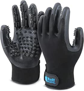Ruff - 2019 Pet Grooming Glove | Remove Excess Fur on Dogs, Cats, Horses and More! | Comfortable Pair of Gloves | Gently Massage While Bathing | Your Pet Will Love You for it! (Medium)