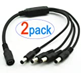 2-Pack 1 to 4 Way DC Power Splitter Cable 5.5mm x 2.1mm for CCTV Cameras DVR NVR LED Light Strip