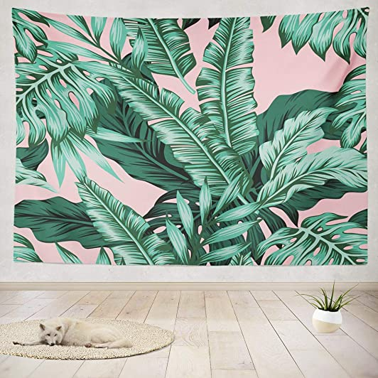 Asoco Tapestry Wall Hanging Tropical Green Leaves Pink Exotic Leaf Tropic Banana Palm Floral Flower Wall Tapestry for Bedroom Living Room Tablecloth Dorm 80 WX60 L Inches