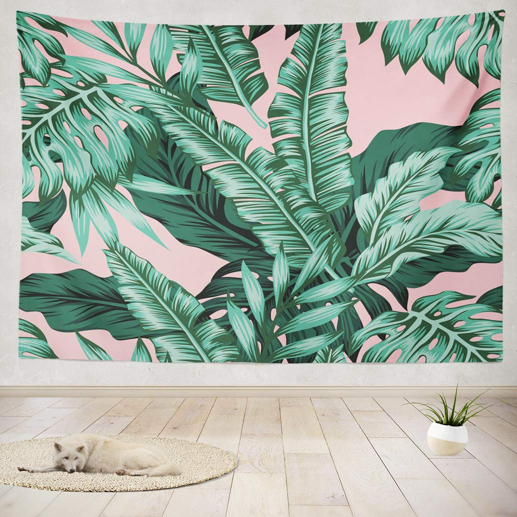 "ASOCO Tapestry Wall Hanging Tropical Green Leaves Pink Exotic Leaf Tropic Banana Palm Floral Flower Wall Tapestry for Bedroom Living Room Tablecloth Dorm 80"" WX60 L Inches"