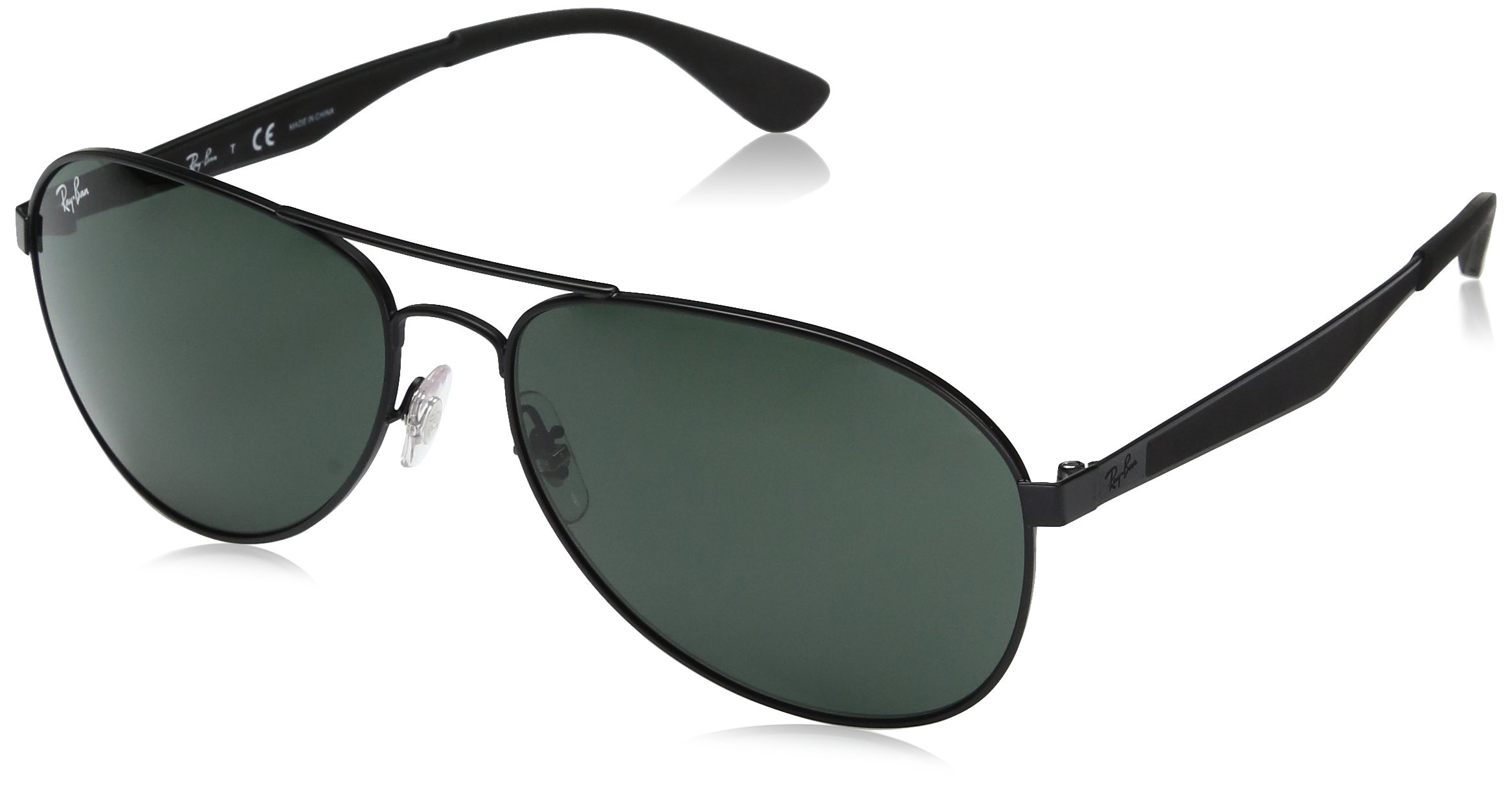 RAY-BAN RB3549 Aviator Sunglasses, Matte Black/Green, 61 mm by RAY-BAN