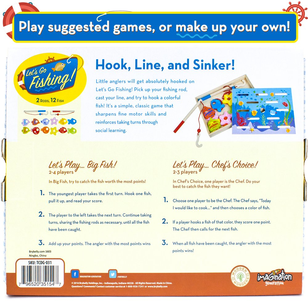 Counting and Matching Skills by Imagination Generation TCDG-031 Dexterity Game Wooden Wonders Lets Go Fishing
