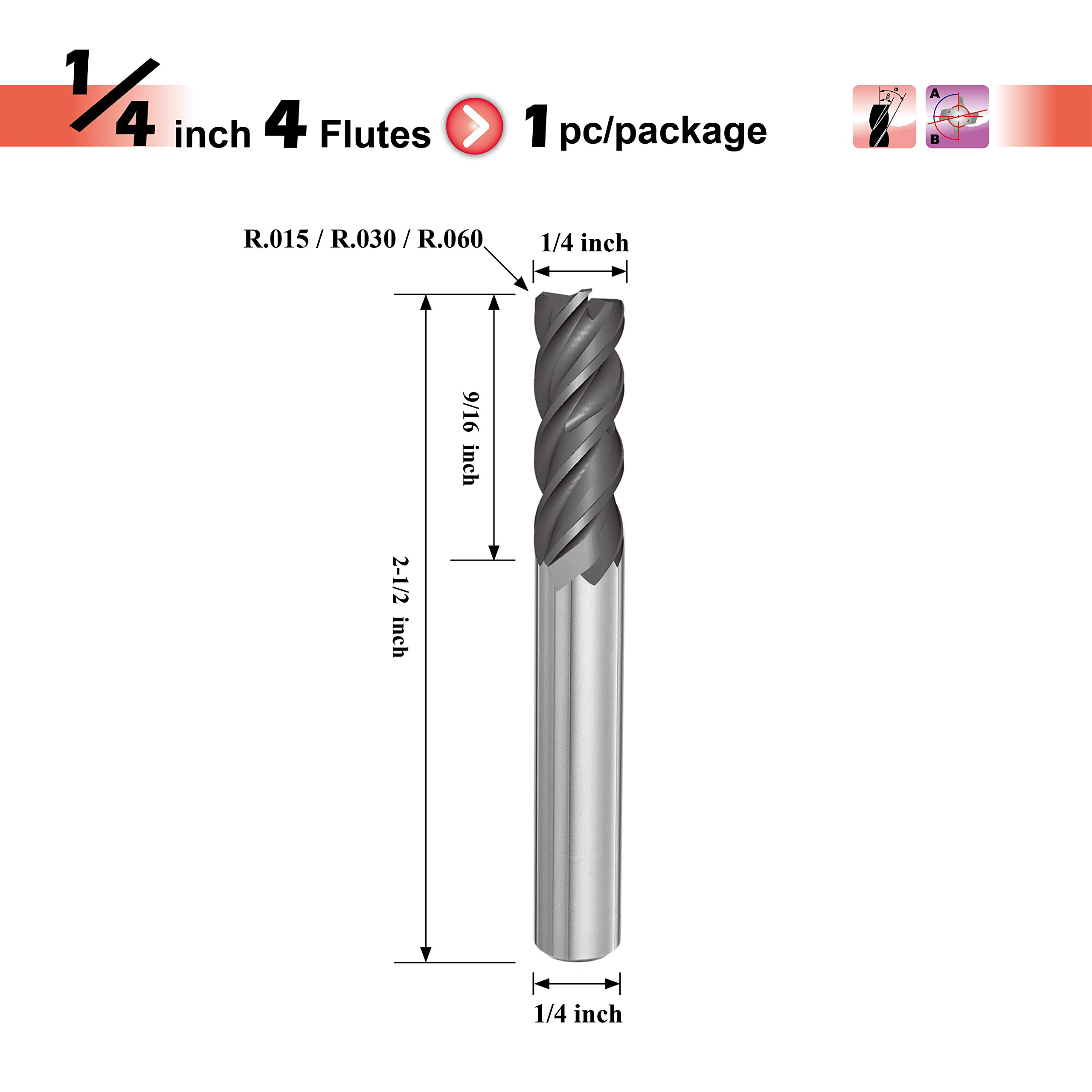 SPEED TIGER IPVR Carbide Corner Radius End Mill for Titanium - Unequal Flute Spacing and Helix Design - 4 Flute - IPVR1T1/4''0.06''4 (1 Piece, R0.06, 1/4'') by SPEED TIGER