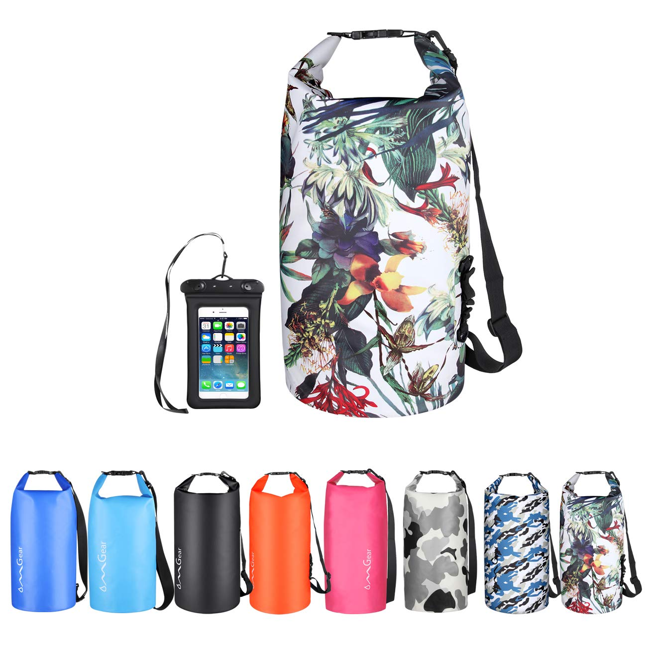OMGear Waterproof Dry Bag Backpack Waterproof Phone Pouch 40L/30L/20L/10L/5L Floating Dry Sack for Kayaking Boating Sailing Canoeing Rafting Hiking Camping Outdoors Activities (camouflage1, 10L) by OMGear