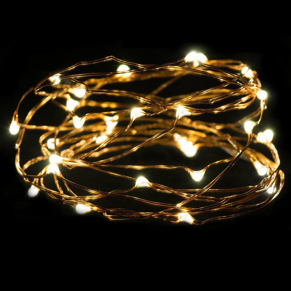 Glumes LED String Fairy Lights |50 LED 16.4ft/5 m |Hanging Indoor Outdoor Decoration for Christmas Party Wedding Holiday Birthday Garden Patio Bedroom Operated by batteries (yellow)