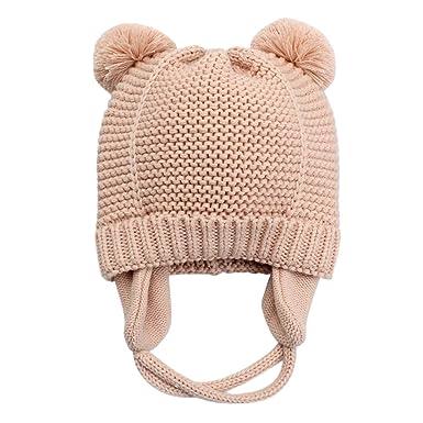 c6d8e19ea7e5 Langzhen Bébé Bonnet Hiver Chaud en Coton Tricoté Beanie Chapeau Earflap  Protection Oreille Bonnet de Ski