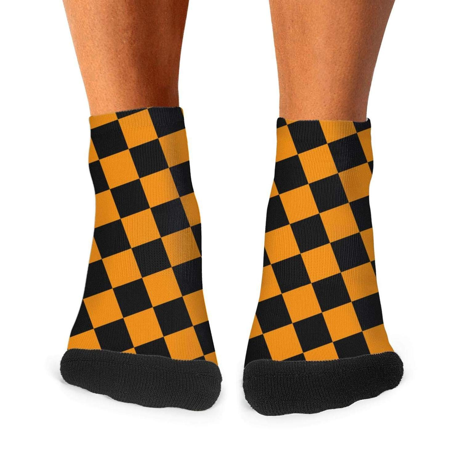 Mens athletic low cut Ankle sock black orange checkered squares Short Sports Sock