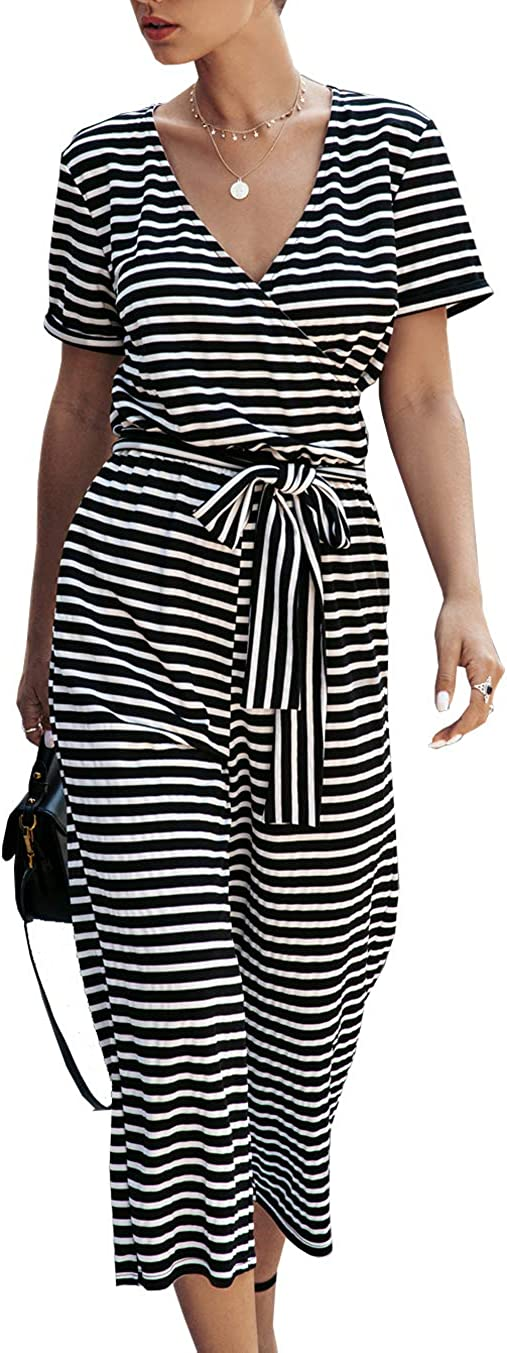 PRETTYGARDEN Women's Short Sleeve V Neck Striped Jumpsuit Wide Leg Pants Loose Romper with Pockets and Belts
