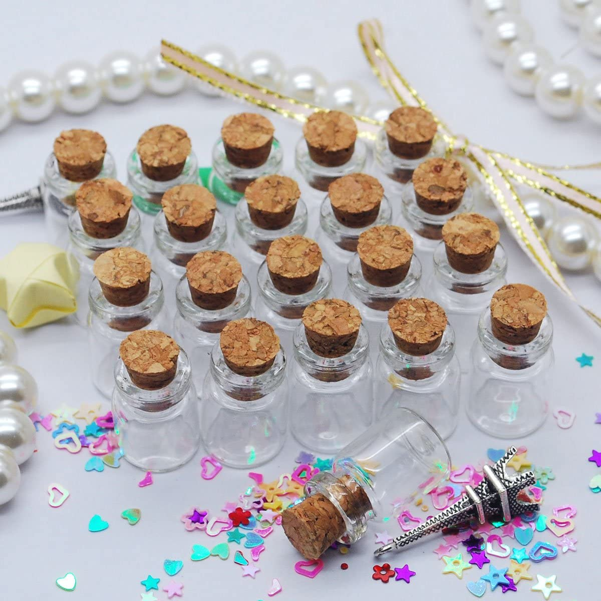 HooAMI 5pcs Mini Glass Bottle Tear Drops Jars Vials Wish Bottle Message Weddings Jewelry Party Favors