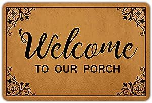 Muikoo Front Door Mat Welcome Mat Welcome to Our Porch Rubber Non Slip Backing Funny Doormat Indoor Outdoor Rug 23.6