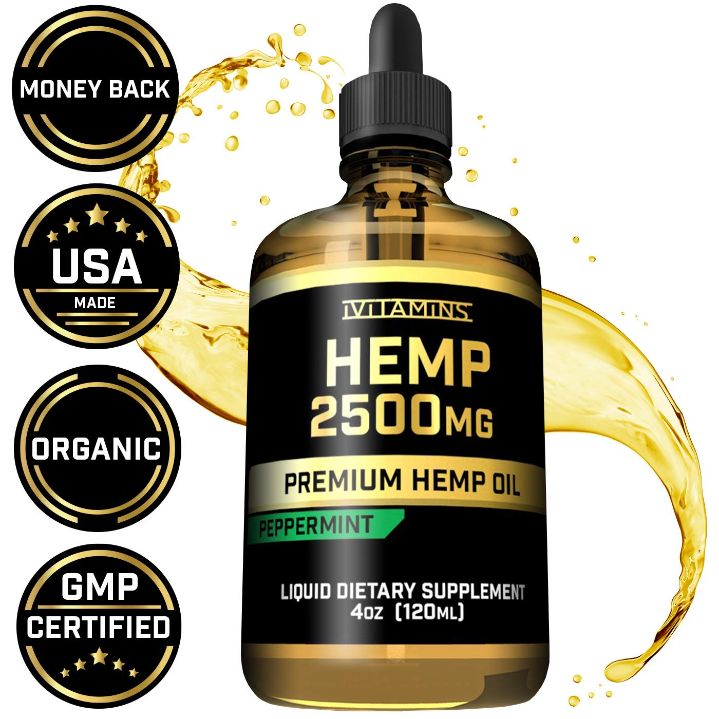 iVitamins Hemp Oil for Pain Anxiety Relief :: 2500mg 4oz :: May Help with Stress, Pain, Anxiety, Sleep, Depression, Headaches + More :: Hemp Seed Extract :: Rich in Omega 3,6,9 :: (Peppermint Flavor)