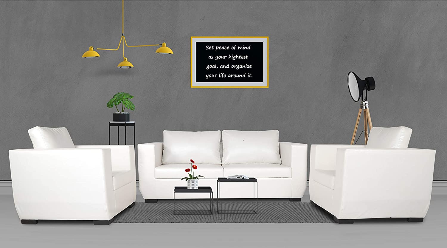 Adorn India Walton Leatherette 3-1-1 Sofa Set (White)