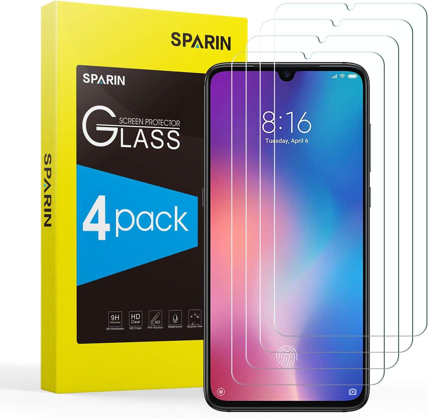 SPARIN [4-Pack Protector Pantalla XiaoMi Mi 9 / Mi 9 Lite, Cristal Templado XiaoMi Mi 9 / Mi 9 Lite, Vidrio Templado con [Alta Definición] [9H Dureza] [Sin Burbujas] [Anti-Huella]