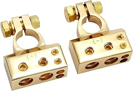 2x Gold 1//0 2 4 8 Gauge AWG Car Battery Terminal Positive /& Negative Clamps FAST