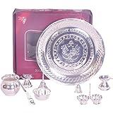 9 pcs Silver polished Puja Set