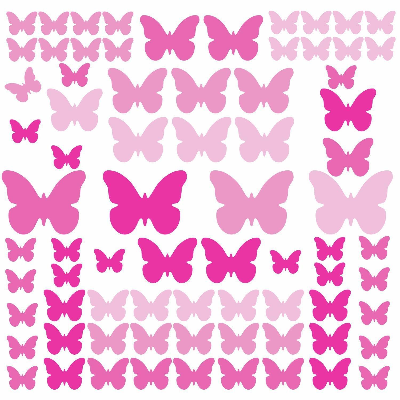 RoomMates RMKSCS Pink Flutter Butterflies Peel And Stick Wall - Wall decals butterfliespatterned butterfly wall decal vinyl butterfly wall decor