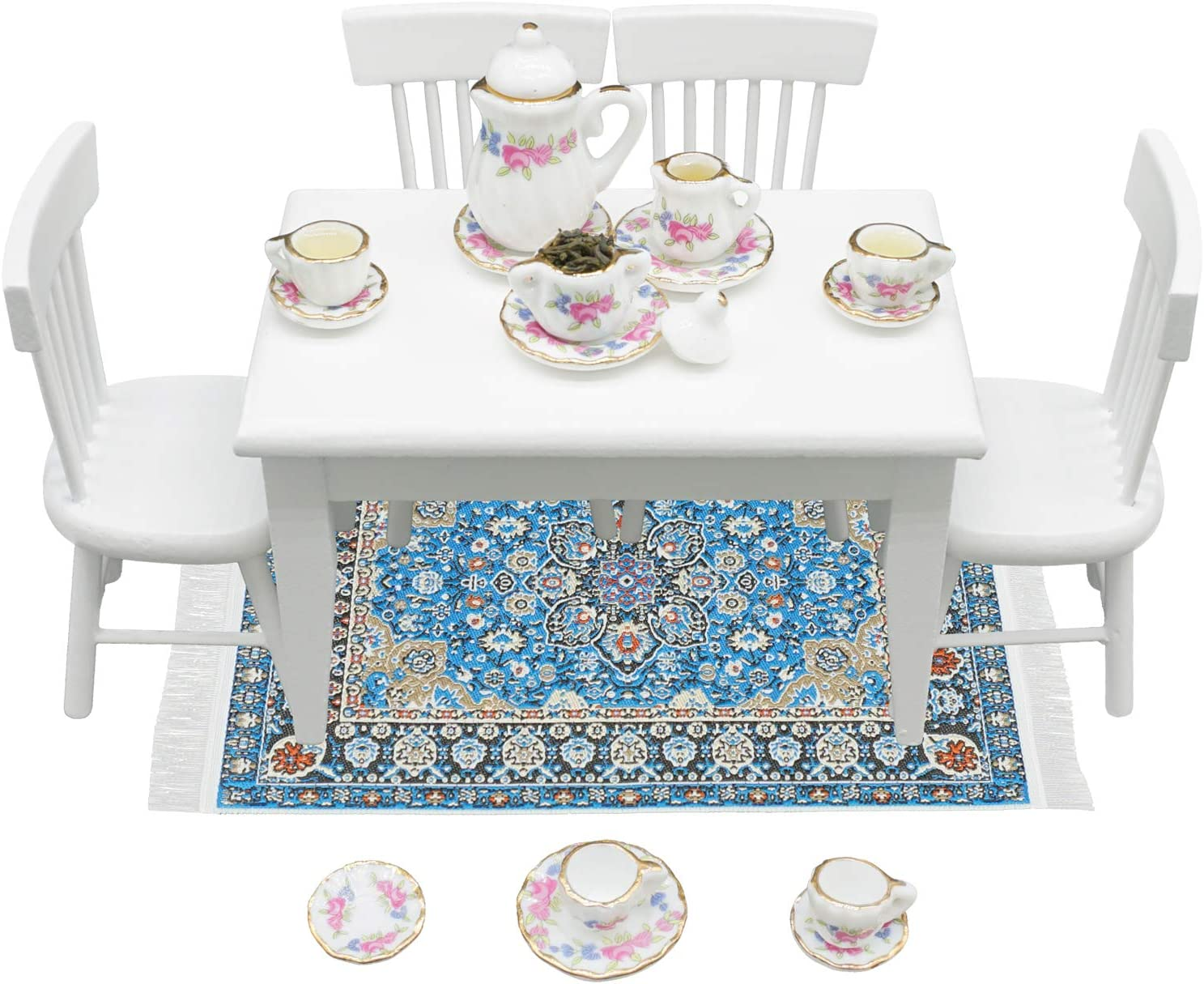 1:12 Dollhouse Furniture - Exquisite Kitchen Room Set (17 Pieces) - Dining Table with Chairs, Tea Set, Carpet - Dining Room Furniture Model (White)