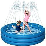 NEOROD 3 Layers Splash Pad, Sprinkler Play Mat, Upgrade Water Storage Pool, Inflatable Wading Toys, Outside Summer Toys Fun f