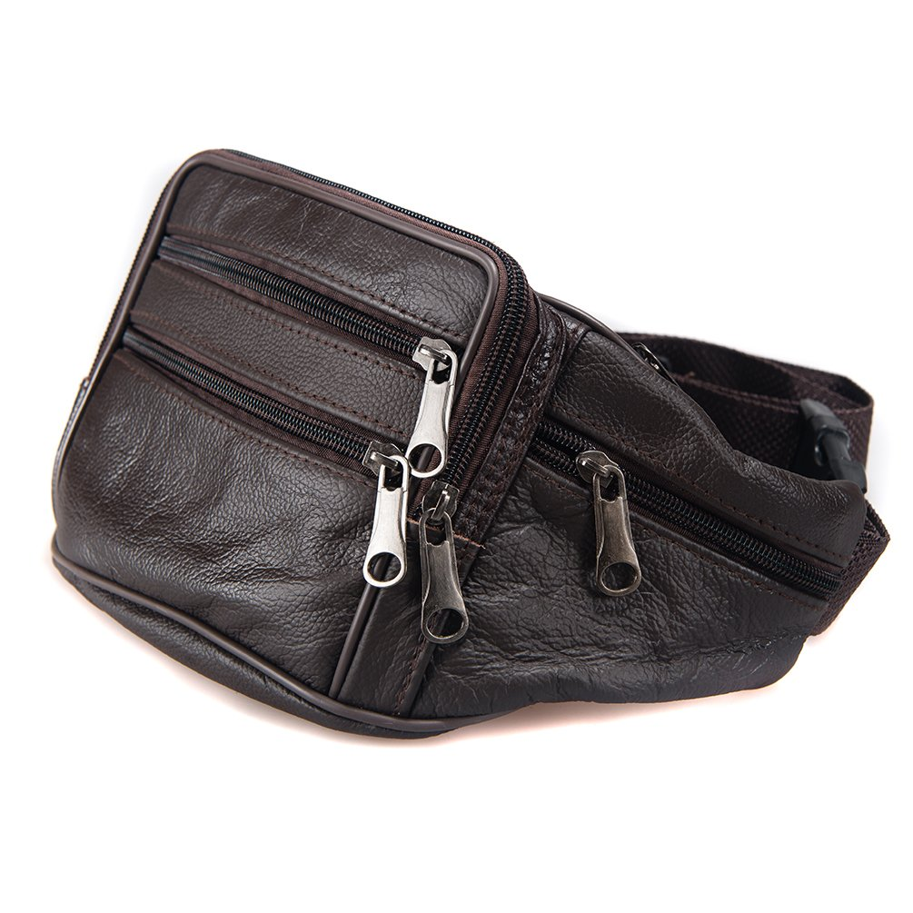 FANNING511 Waist Pack Cowhide Leather Large Size 7 Pockets Fanny Pack Brown