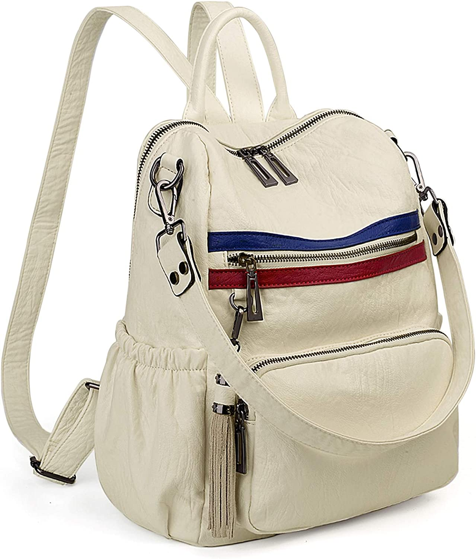 UTO Women Backpack Purse PU Leather Convertible Ladies Rucksack Tassel Zipper Pocket Shoulder Bag CA