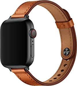 OUHENG Slim Band Compatible with Apple Watch Band 40mm 38mm 44mm 42mm, Women Genuine Leather Band Replacement Thin Strap for iWatch SE Series 6 5 4 3 2 1 (Brown/Black, 40mm 38mm)