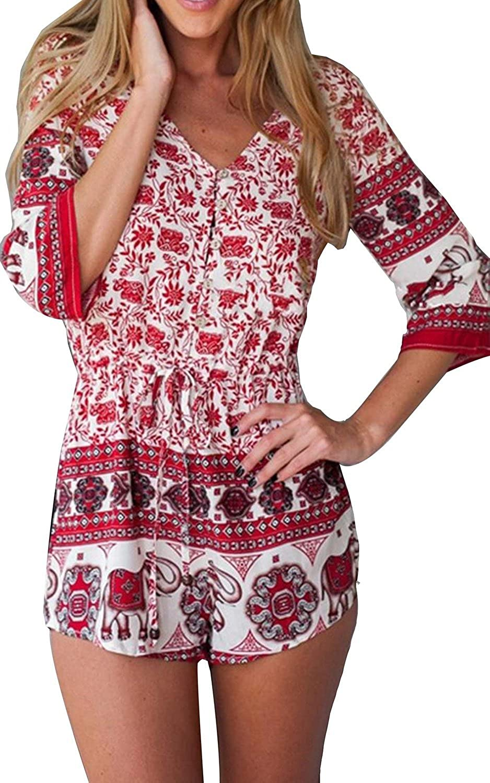Minetom Damen Blumen Bluse V-Ausschnitt Sommer Overall Strand kurz Jumpsuit Playsuit Bodysuit