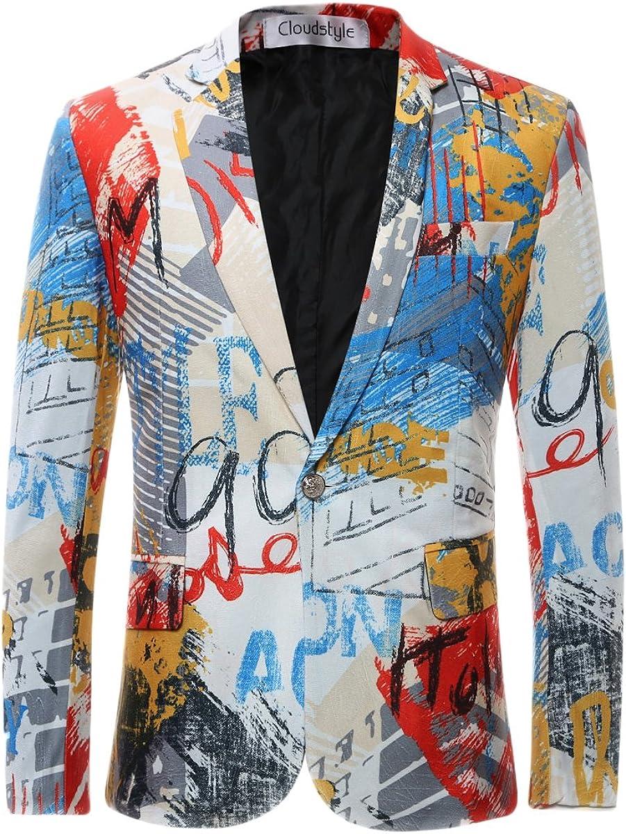 Allthemen - Chaleco casual para hombre con estampado de un solo botón, chaqueta de esmoquin Color de la imagen 4 S